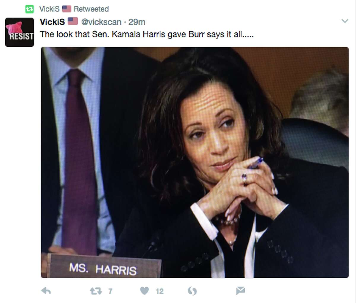 Twitter reacts to Sen. Kamala Harris (D-CA) during the Senate Intelligence Committee questioning, where she was interrupted by Sen. John McCain (R-AZ) and Richard Burr (R-NC).