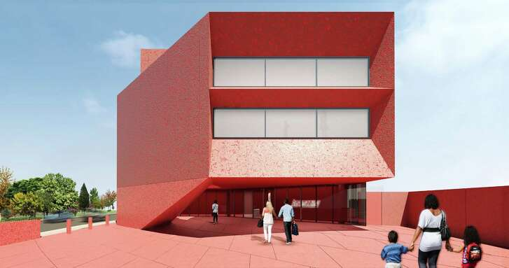 A rendering of Ruby City, the exhibition building of the Linda Pace Foundation, set for completion in late 2018. The walls will be deep red cast concrete with glass and mica aggregate to make the building sparkle.