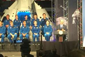 Vice President Mike Pence addresses a gathering at NASA's Johnson Space Center in Clear Lake, Texas on June 7, 2017, where the newest class of astronaut candidates was introduced.