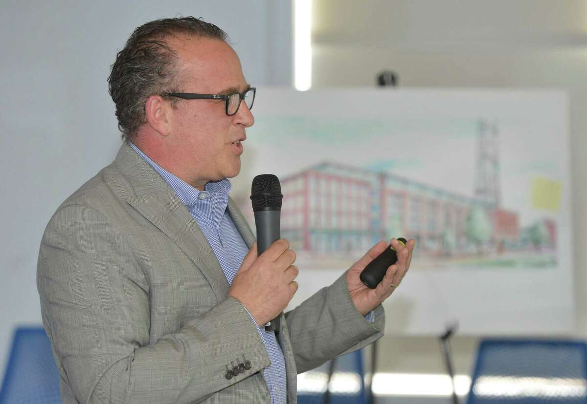 Peter Propp, Chairman of the SoNo Central Steering Committee talks about what Norwalk has to offer in technology during a public hearing for the city's SoNo Central promotion to CTNext. Leaders from City Hall and the business community promoted Norwalk during the meeting on Thursday May 11, 2017 at the Maritime Aquarium in Norwalk Conn.