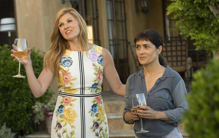"Connie Britton (left) and Salma Hayek in ""Beatriz at Dinner."" Photo: Lacey Terrell"