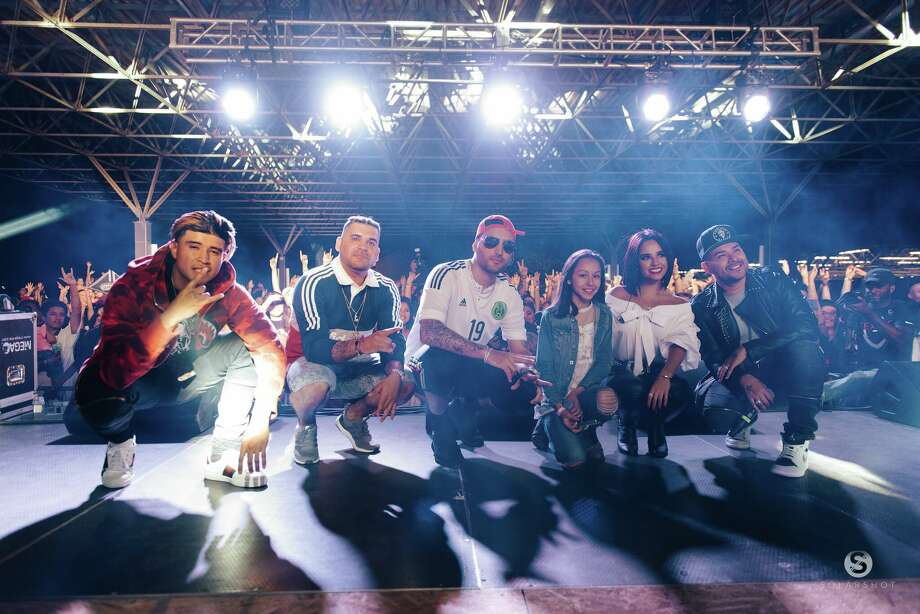 Frankie J, Becky G and Kap G performed a reimagined version of Selena's 1994 hit, produced by Play-N-Skillz at Rosedale Park on May 3, 2017. Photo: Courtesy, Solarshot