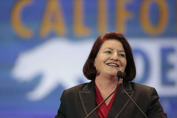 FILE - In this May 16, 2015, file photo, California Assembly Speaker Toni Atkins, D-San Diego, speaks at the California Democrats State Convention in Anaheim, Calif. Atkins plans to fight a fellow Democrat, Marty Block, for a state Senate seat when her tenure expires, the Los Angeles Times reported Saturday, Sept. 19, 2015. (AP Photo/Damian Dovarganes, File)