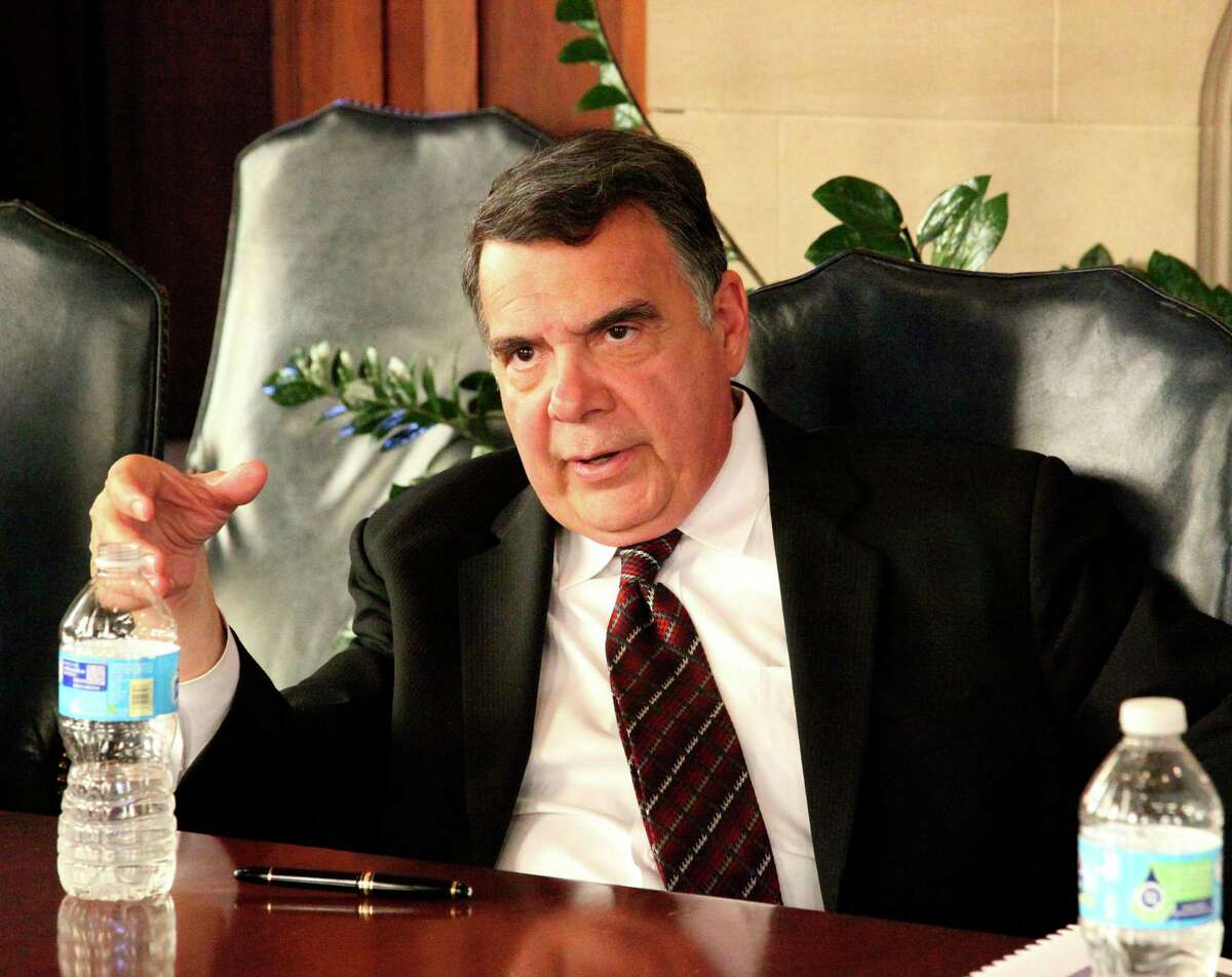 U.S. District Judge Orlando Garcia, is shown here talking to the Express-News Editorial Board in 2015.