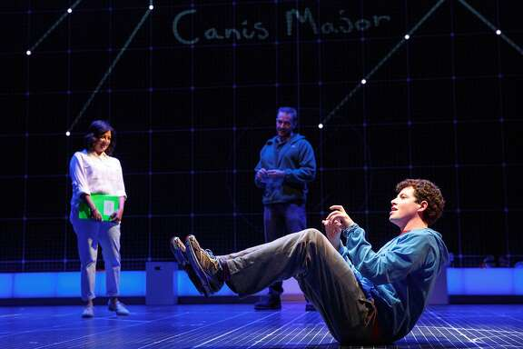 Maria Elena Ramirez as Siobhan, Gene Gillette as Ed and Adam Langdon as Christopher Boone in the touring production of The Curious Incident of the Dog in the Night-Time.  Photo Credit: Joan Marcus