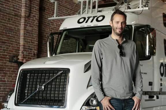 FILE � Anthony Levandowski, a co-founder of Otto, a self-driving truck company that was acquired by Uber in August 2016, with one of the company�s trucks in San Francisco, May 16, 2016. Uber has fired Levandowski, a vice president of technology and the star engineer leading the company�s self-driving automobile efforts, according to an internal email sent to employees May 30, 2017. (Ramin Rahimian/The New York Times)