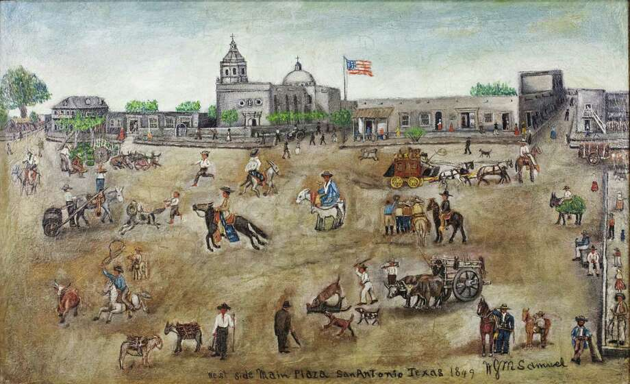 Four historic paintings of San Antonio's Main Plaza, dated 1849 and depicting the north, south, east and west sides of the plaza, were returned to Bexar County by the Witte Museum Jan. 6, 2015. This is the west side of Main Plaza in a painting by William G.M. Samuel, a Bexar County lawman and county commissioner as well as an early Texas folk artist, one of four loaned by the county to the Witte in 1945. They were returned to the Bexar County Courthouse for permanent display in the restored 1897 Double-height Courtroom that was rededicated in 2015. Photo: Kirk Fields /Courtesy Witte Museum / Copyright: 2012