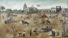 Four historic paintings of San Antonio's Main Plaza, dated 1849 and depicting the north, south, east and west sides of the plaza, were returned to Bexar County by the Witte Museum Jan. 6, 2015. This is the west side of Main Plaza in a painting by William G.M. Samuel, a Bexar County lawman and county commissioner as well as an early Texas folk artist, one of four loaned by the county to the Witte in 1945. They were returned to the Bexar County Courthouse for permanent display in the restored 1897 Double-height Courtroom that was rededicated in 2015.