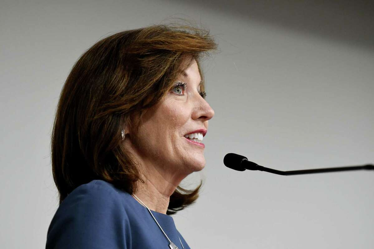 Lt. Gov. Kathy Hochul speaks the keynote speech during the Women@Work Summit at the Hearst Media Center on Wednesday, June7, 2017, in Colonie, N.Y. (Will Waldron/Times Union)