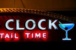 A piece of the neon sign at Doc's Clock bar in San Francisco, California, on Thursday, May 25, 2017.