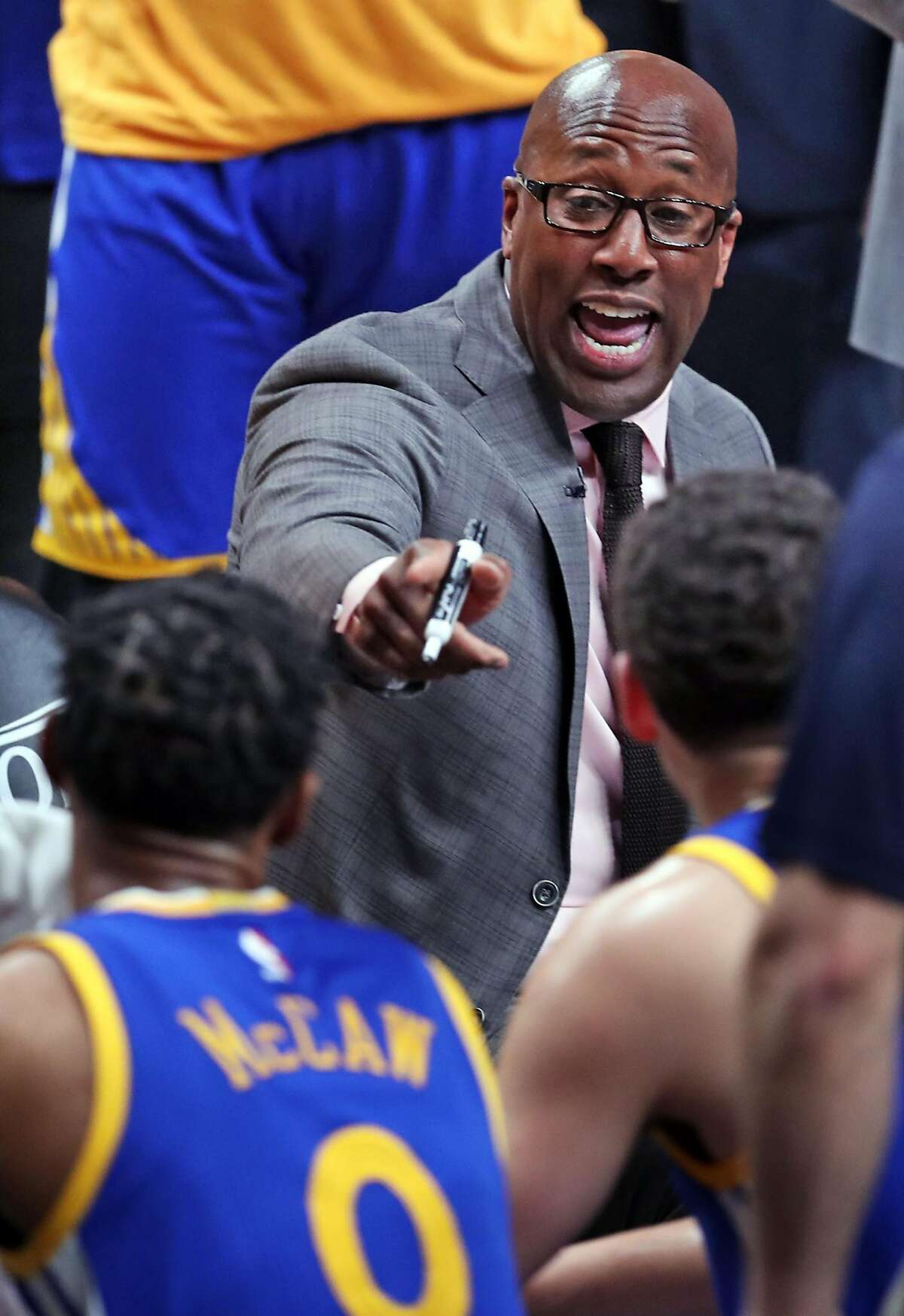 Golden State Warriors' Mike Brown during 119-113 win over Portland Trail Blazers in Game 3 of NBA Western Conference 1st Round Playoffs at Moda Center in Portland, Oregon on Saturday, April 22, 2017.