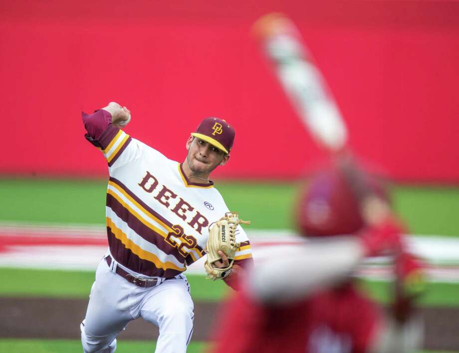 Deer Park pitcher Adrian Gonzales played a pivotal role in his team advancing to the Class 6A state tournament, holding Travis to only one run in the decisive third game of their Region III final. That came after he also appeared in relief during Game 2. Photo: Juan DeLeon, FRE / Houston Chronicle