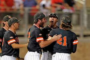 Sam Houston State players celebrate after their win over Texas Tech in an NCAA college baseball regional tournament game in Lubbock, Texas, Sunday, June 4, 2017. (Brad Tollefson/Lubbock Avalanche-Journal via AP)