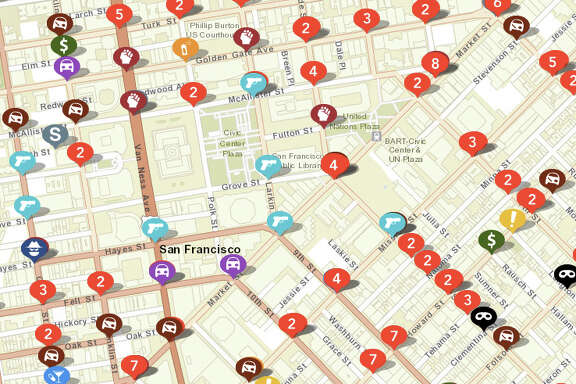A screenshot of the criminal activity reported to the BART Police Department. The department recently partnered with CrimeMapping.com to make its crime data more accessible to the public.
