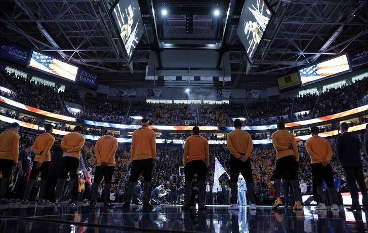 The Warriors stand for the national anthem before the Golden State Warriors played the Utah Jazz at Vivint Smart Home Arena in Salt Lake City, Utah, on Monday, May 8, 2017, in Game 4 of the 2017 Western Conference Semifinals. The