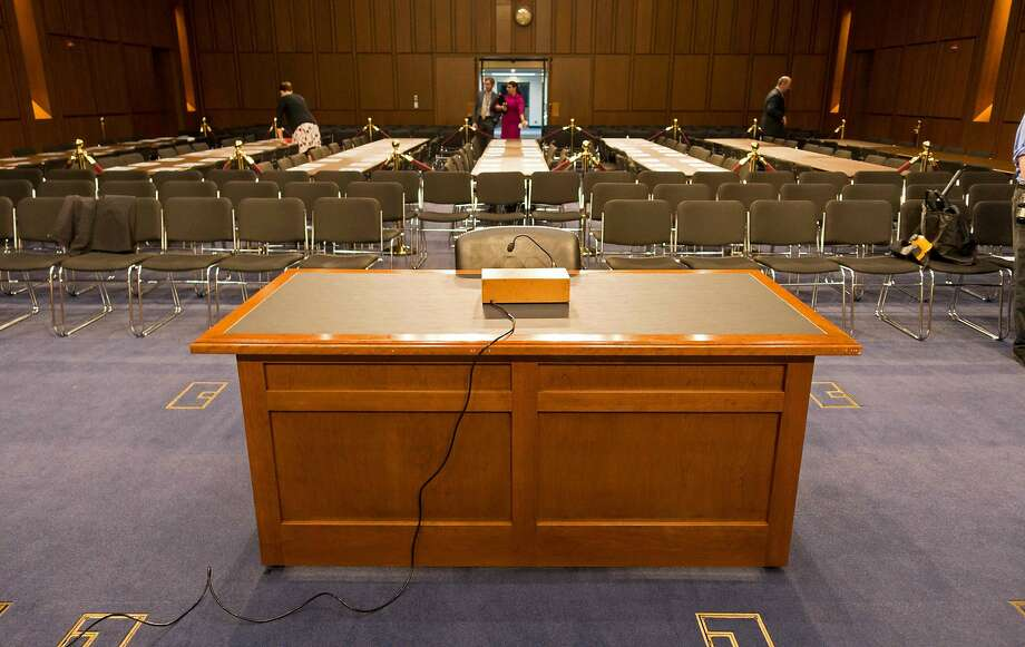 The desk in room 216 of the Hart Senate Office Building on Capitol Hill in Washington, DC. Photo: PAUL J. RICHARDS, AFP/Getty Images