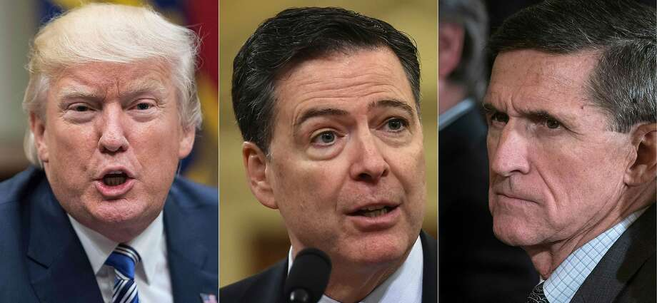 This combination of pictures shows file photos of (L-R) US President Donald Trump; FBI Director James Comey; and of US National Security Advisor Michael Flynn. Photo: NICHOLAS KAMM, AFP/Getty Images
