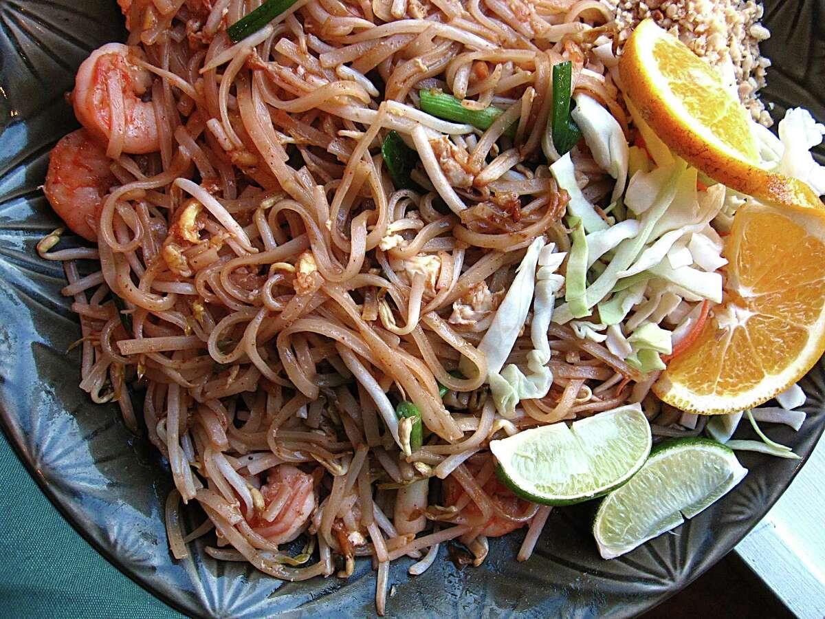 Pad thai with shrimp at Sawasdee Thai Cuisine.