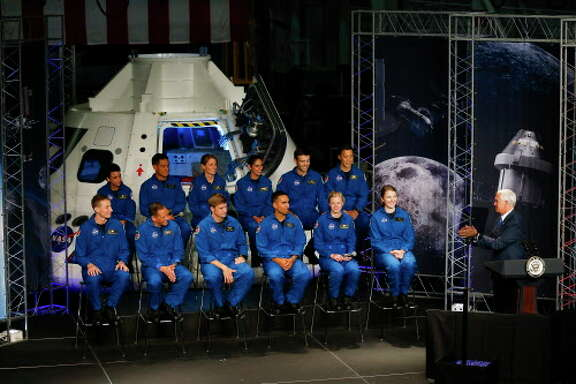 United States Vice President Mike Pence congratulates a new class of astronauts at the Johnson Space Center Wednesday, June 7, 2017 in Houston.