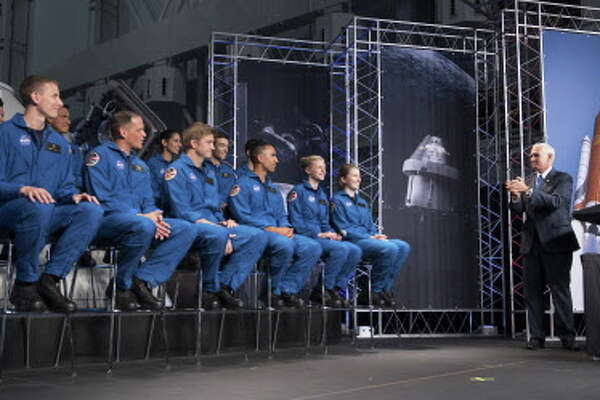HOUSTON, TX - JUNE 07: In this handout provided by the National Aeronautics and Space Administration (NASA), U.S. Vice President Mike Pence regonizes the newly introduced 12 new NASA astronaut candidates on June 7, 2017 at NASA's Johnson Space Center in Houston, Texas. After completing two years of training, the new astronaut candidates could be assigned to missions performing research on the International Space Station, launching from American soil on spacecraft built by commercial companies, and launching on deep space missions on NASA's new Orion spacecraft and Space Launch System rocket.