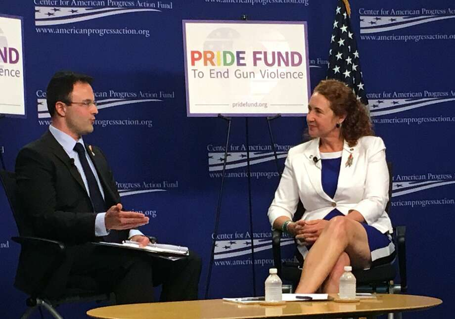 Pride Fund Executive Director Jason Lindsay and Rep. Elizabeth Esty, D-Conn., talk about the importance of mobilizing the LGBTQ community and preventing gun violence in Washington D.C. on Wednesday, June 7, 2017. Photo: Cayla Harris / Hearst Connecticut Media / Connecticut Post Contributed