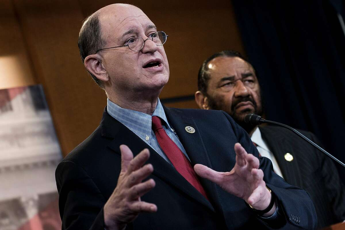 US Representative Brad Sherman (L), Democrat of California, and US Representative Al Green, Democrat of Texas. Green submitted articles of impeachment against Trump Wednesday in the first legislative step for any congressional bid to remove the president from office. >>Keep clicking for things you need to know about Al Green.