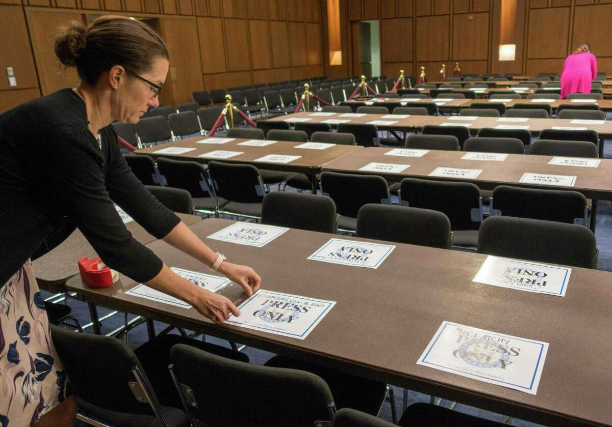 Officials set up work areas on Wednesday for the many of reporters expected to attend former FBI director James Comey's testimony on Thursday.