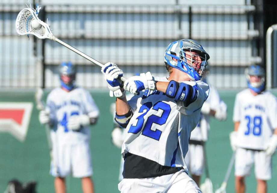 Darien's Finlay Collins winds up to score against Glastonbury during Class L boys lacrosse semi-final action in at Fairfield University in Fairfield, Conn. on Wednesday June 7, 2017. Photo: Christian Abraham / Hearst Connecticut Media / Connecticut Post