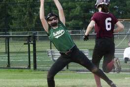 The New Milford High School JV softball team fell 6-3 to Bethel May 19. Second baseman, freshman Paige Duffany, covers the bag at first and makes the catch to get the out at first.