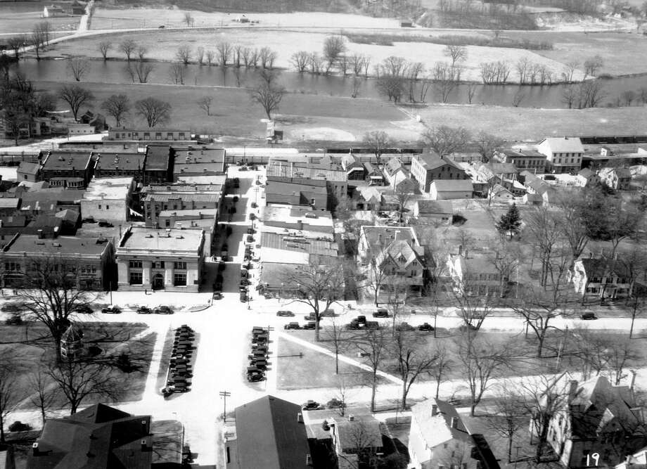 """The historic village center in New Milford is shown above, with Young's Field, the Housatonic River and Route 7 toward the top, circa 1930s. If you have a """"Way Back When"""" photo to share, contact Deborah Rose at drose@newstimes.com or call 860-355-7324. Photo: Contributed Photo / Contributed Photo / The News-Times Contributed"""