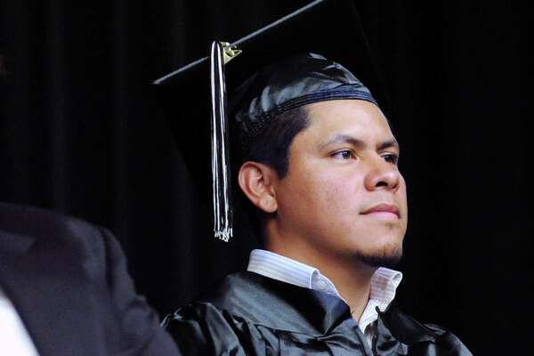 Juan Lopez, of Stamford, 29, from Guatemala, during the Adult & Continuing Education graduation.