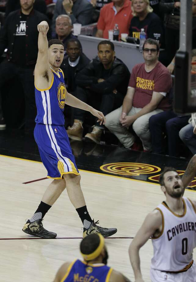 Golden State Warriors' Klay Thompson watches a three-pointer in the first quarter during Game 3 of the 2017 NBA Finals at Quicken Loans Arena on Wednesday, June 7, 2017 in Cleveland, Ohio Photo: Carlos Avila Gonzalez, The Chronicle
