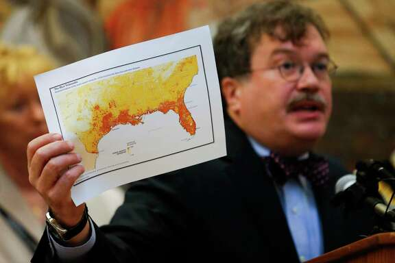 Dr. Peter Hotez, shown at a May 2016 news conference in Houston, says the Zika virus probably won't be brought into Texas or Florida this summer from the Caribbean or from Central and South America.