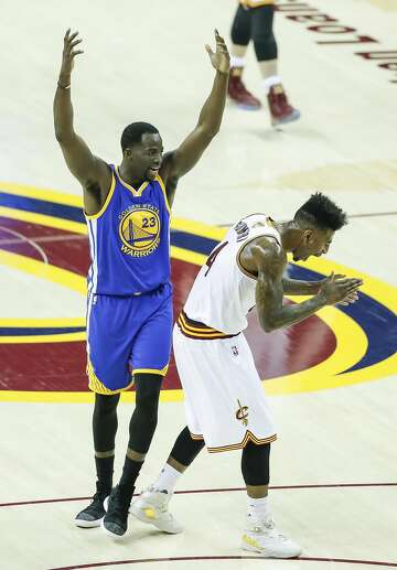 987041c6751 2of116Golden State Warriors  Draymond Green and Cleveland Cavaliers  Iman  Shumpert react in the second quarter during Game 3 of the 2017 NBA Finals  at ...