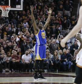 Golden State Warriors' Draymond Green reacts in the second quarter during Game 3 of the 2017 NBA Finals at Quicken Loans Arena on Wednesday, June 7, 2017 in Cleveland, Ohio