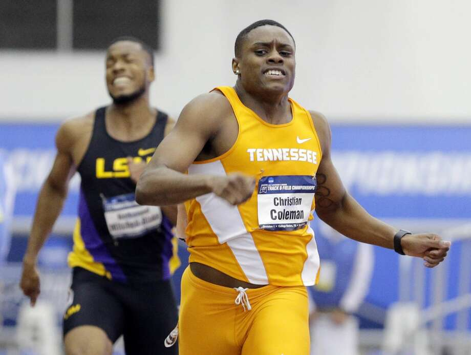 Tennessee Volunteers sprinter Christian Coleman dismantled the collegiate 100-meter dash record during a semifinal at the NCAA Championships in Eugene, Ore. on Wednesday. Photo: Michael Wyke/Associated Press