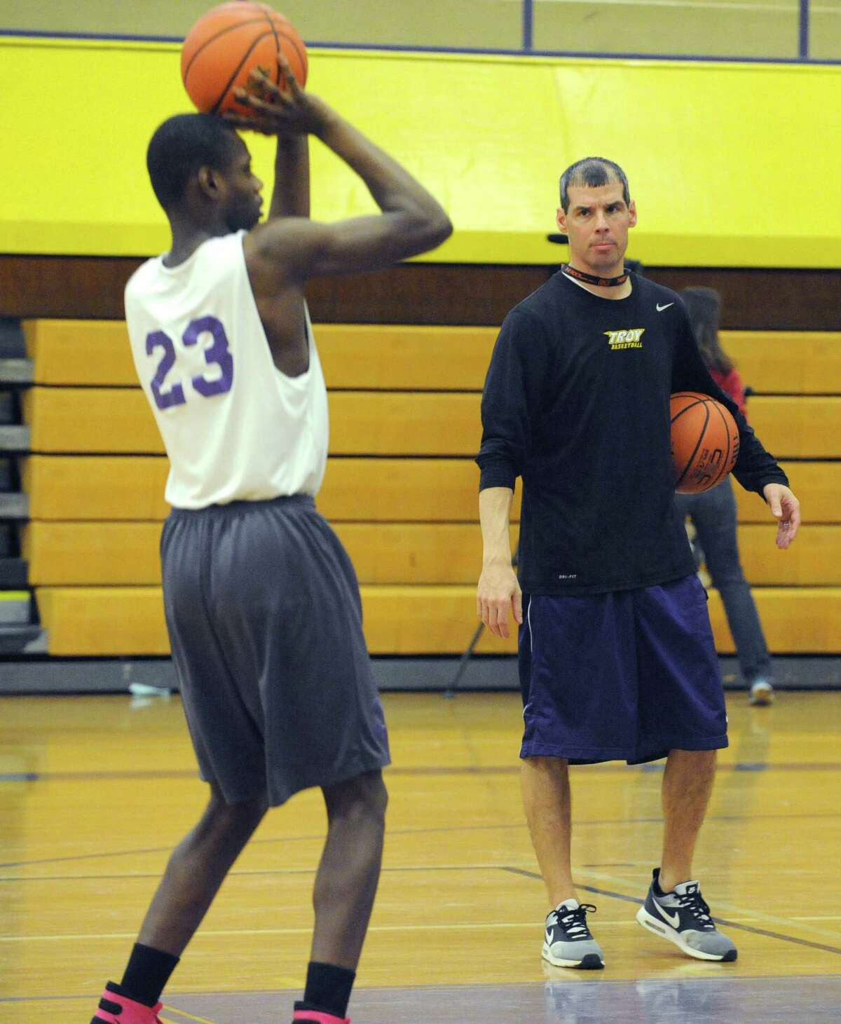 Troy High School basketball coach Rich Hurley puts his team through a practice on Thursday March 10, 2016 in Troy, N.Y. (Michael P. Farrell/Times Union)