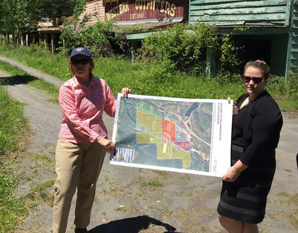 On Wednesday, June 8, 2017,officials from Empire State Development and the Department of Environmental Conservation offered a tour of the closed theme park to prospective developers and members of the media. State officials display a map of the 288-acre site. (Rick Karlin / Times Union)