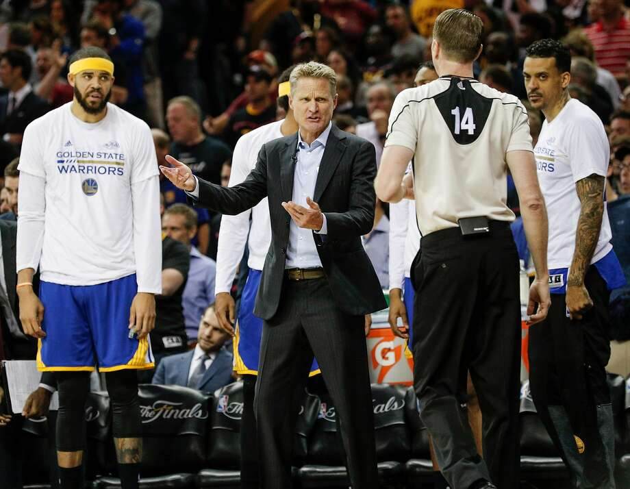 Golden State Warriors' Head Coach Steve Kerr talks to referee Ed Maloy in the second quarter during Game 3 of the 2017 NBA Finals at Quicken Loans Arena on Wednesday, June 7, 2017 in Cleveland, Ohio Photo: Carlos Avila Gonzalez, The Chronicle