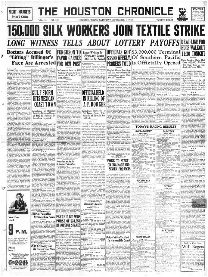 Houston Chronicle front page - September 1, 1934 - section 1, page 1.  $3,000,000 Terminal of Southern Pacific is Officially Opened Photo: HC Staff / Houston Chronicle