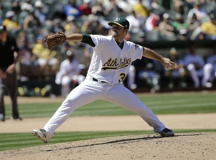 Oakland Athletics pitcher Daniel Coulombe against the Boston Red Sox during a baseball game in Oakland, Calif., Sunday, May 21, 2017. (AP Photo/Jeff Chiu) Photo: Jeff Chiu, Associated Press