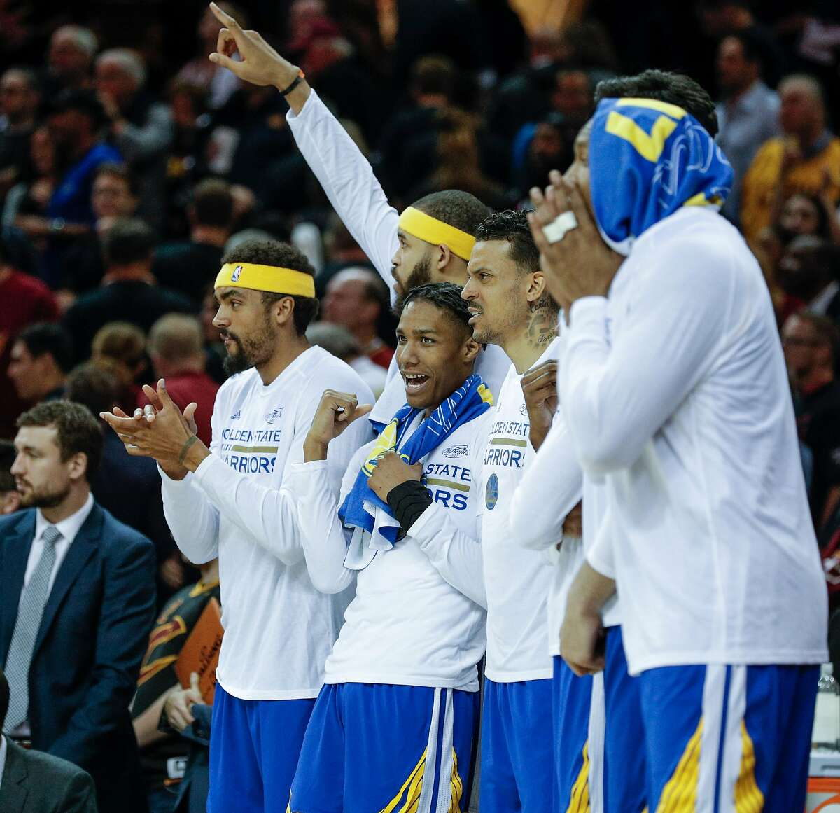 The Golden State Warriors' bench watches the final moments of Game 3 of the 2017 NBA Finals at Quicken Loans Arena on Wednesday, June 7, 2017 in Cleveland, Ohio