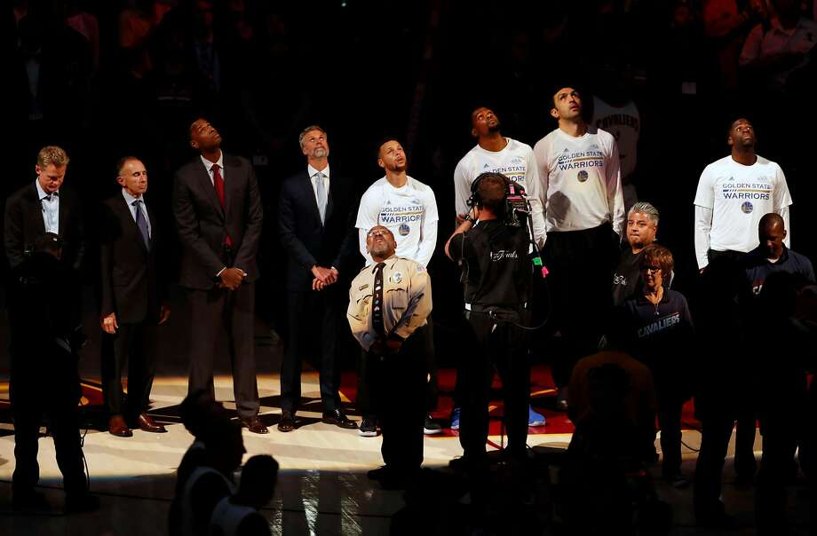 Golden State Warriors line up for National Anthem before Warriors' 118-113 win over Cleveland Cavaliers in Game 3 of the NBA Finals at Quicken Loans Arena in Cleveland, Ohio, on Wednesday, June 7, 2017. Photo: Scott Strazzante, The Chronicle
