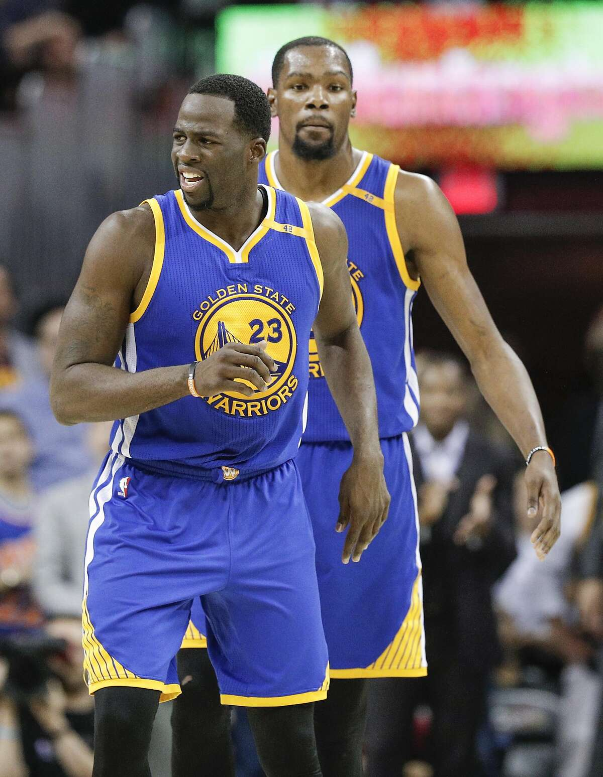Golden State Warriors' Kevin Durant reacts to a call in the second quarter during Game 3 of the 2017 NBA Finals at Quicken Loans Arena on Wednesday, June 7, 2017 in Cleveland, Ohio