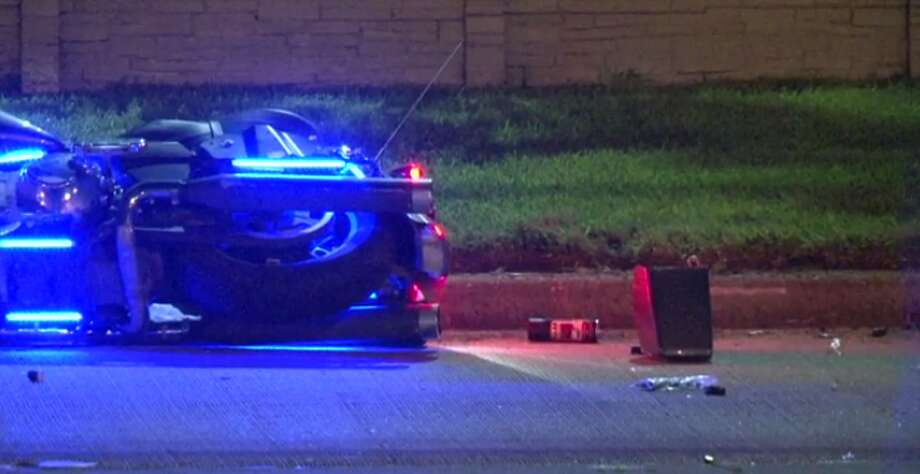 A motorcyclist is dead after crashing early Thursday into a curb along the entrance ramp to Beltway 8, in east Harris County. (Metro Video) Photo: Metro Video
