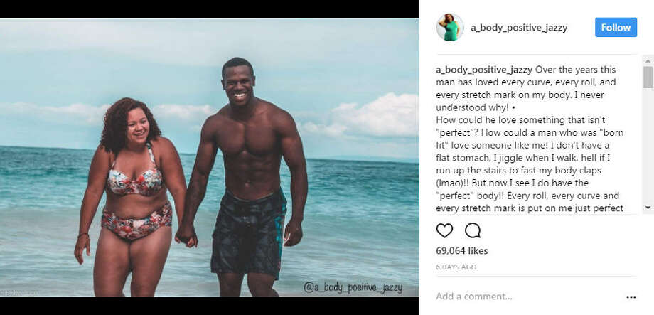 Instagram user, Jazzy has gone viral after sharing a photo of herself and her husband along with an inspiring message about their different body types.Photo: @a_body_positive_jazzy Instagram>>KEEP CLICKING TO SEE PLUS-SIZED MODELS YOU SHOULD KNOW.