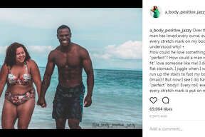 Instagram user Jazzy has gone viral after sharing a photo of herself and her husband along with an inspiring message about their different body types.