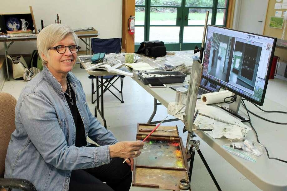 Dorothy Lorenze at Weir Farm's Artist-in-Residence studio. Photo: Stephanie Kim / Hearst Connecticut Media