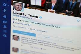 FILE- This April 3, 2017, photo shows President Donald Trump's tweeter feed on a computer screen in Washington. Some Twitter users say Trump is violating the First Amendment by blocking people from his feed after they posted scornful comments. Lawyers for two Twitter users sent the White House a letter Tuesday, June 6, demanding they be un-blocked from the Republican president's @realDonaldTrump account. (AP Photo/J. David Ake, File)