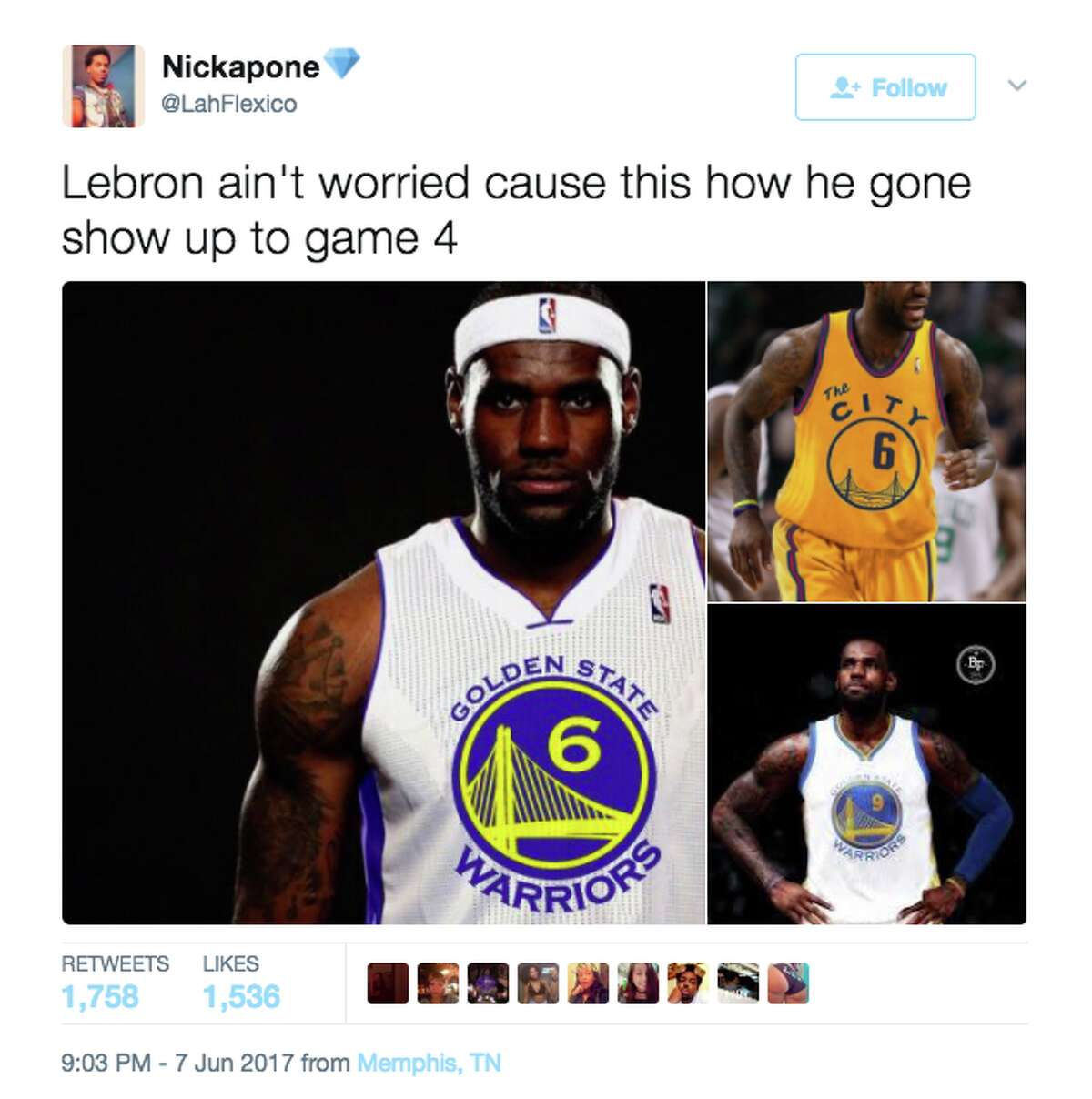Twitter lit up with memes after the Warriors' stunning Game 3 victory over the Cavs in the NBA Finals.